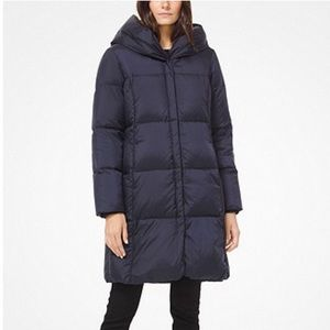 Michael Kors Ruched Hooded Puffer Black W AUTHENT